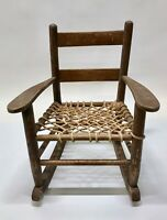 Vintage Antique Mid Century Woven Rope Big Child's Rocking Chair