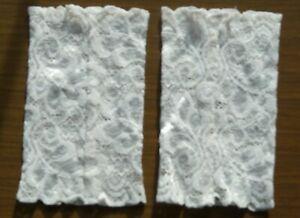 Stulpen handgenäht Handarbeit neu Spitze weiß 14cm lang 8,5cm breit