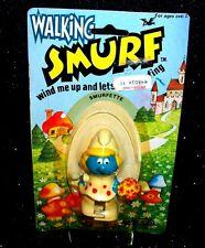"""Vtg Smurfs Peyo Schleich Wind-Up Walking """"SMURFETTE"""" Action Figure Galoob 1982"""