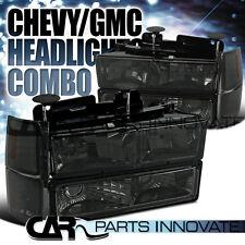 1994-1998 Chevy C10 C/K 1500 Smoke Crystal Headlights w/ Bumper Corner Lamps