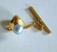 Gorgeous 14K Solid Gold Blue/Gray Pearl Tie Tack