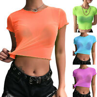Women's Mesh Sheer Short Sleeve Crop Top T Shirt Summer Slim Fit Blouse Tee Tops