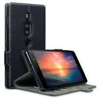 PU Leather Wallet Low Profile Case Cover Black For Sony Xperia XZ2 Premium Phone