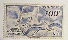FRANCE : Africa Occidental  Sc #C13 Θ , fine airmail postage stamp, birds, mute