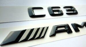 Mercedes C63 AMG schwarz glänzend Schriftzug-Embleme