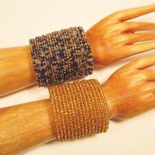Set of 2 Blue Gold Wide Boho Handmade Statement Cuff Bracelets Bali Seed Bead