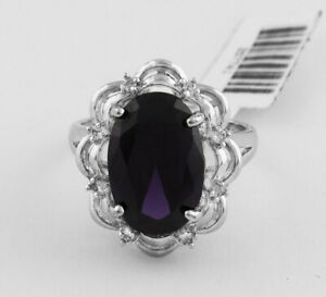 AMETHYST 8.48 Cts & WHITE SAPPHIRE RING Silver Plated * New With Tag* Size 8.5