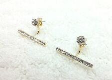 Yellow Gold Plated Ear Jacket Bar Double Sided Crystal Pave Stud Earrings 34