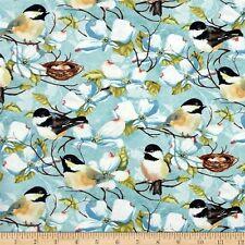 Feather Your Nest Cotton  Bird Fabric Wilmington Nature Light  Blue  Bfab