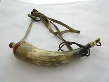 """Antique Powder Horn with Burl Wood - 12"""" long. Nice details"""