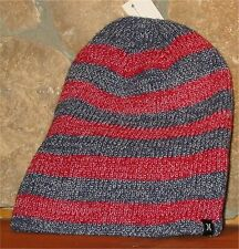HURLEY FINNER REVERSE Knit Winter Hat Beanie Toque Navy Red Reversible