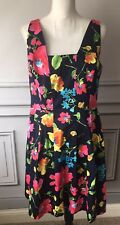 Ralph Lauren XL 14 Navy Blue Floral Dress Empire Waist Flare Pockets Cotton