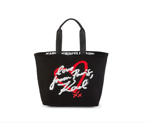 Karl Lagerfeld Paris Women Black Kristen Heart Canvas Tote NWT 98$+TAX