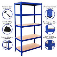 Rayonnage T-Rax bleu en acier robuste à 5 niveaux pour Garage Rangement Étagère