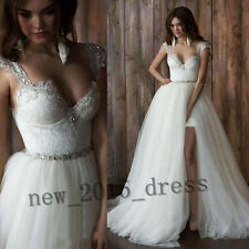 Hot Detachable Lace Tulle Skirt Wedding Dress Two Pieces Bridal Gown Custom Size