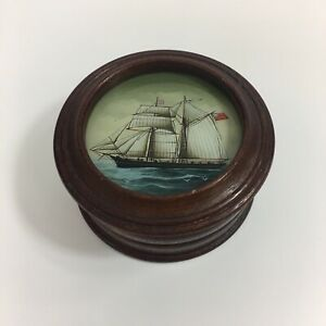 Vintage Hand Painted Miniature Of A Sailing Ship Mounted Round Box 4.5cm High