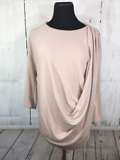 Gallery Women's Top Drape Front 3/4 Sleeves Dusty Pink Stretch Size US 6/8 Small