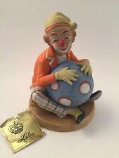 Lefton China Vintage Hand Painted Ceramic Clown Holding Big Blue Ball 02355