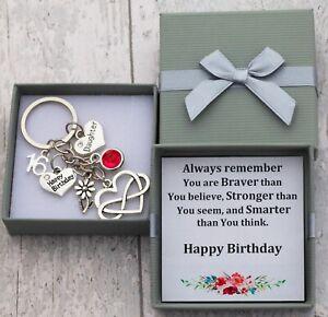 Personalised Birthday Gift keyring mum Daughter Sister Nana-18th 21st 30th+ BOX