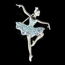 w Swarovski Crystal ~Blue BALLERINA Figure BALLET DANCER Girl Pin Brooch Jewelry