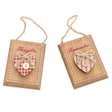 French Shabby Chic Gingham Red Wooden Memopeg - Set of Two Designs