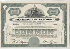 New listing 1951 The Central Foundry Company Stock Certificate - Maine