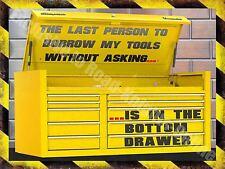 Vintage Garage, 55 Mechanic Tool Box, Old Car Chest Funny, Medium Metal/Tin Sign
