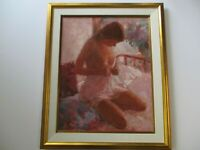 GORGEOUS OIL PAINTING BY LEE DALTON SIGNED VINTAGE NUDE WOMAN FEMALE MODEL YOUNG
