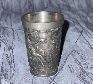 "ANTIQUE *GERMAN* Embossed Engraved Solid Pewter Shot Glass Frieling Zinn 4 1/2"""