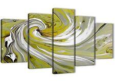 XL Lime Verde SPIRALI moderno astratto tela art - 5 Pezzo-larghezza 160 cm - 5351