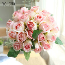 Red Roses Artificial Silk Flowers White Pink Bride Wedding Bouquets Home Decor