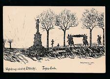 Military WW1 Germany Tages-Ende artist Schellman 1915 Feldpostkarte PPC