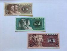 Chinois de collection Universel bank notes x3 - 1 Jiao, 2 Jiao, 5 Jiao 1980