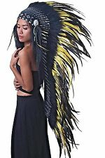 Feather Indian headdress, long length black and yellow headdress, warbonnet
