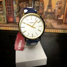 TIMEX Watch Originals Dots 38mm Leather Strap Navy TW2P63500ZR Brand New/Box