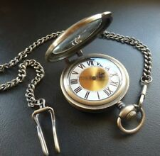 Mens Vintage Style Gold Pocket Fob Watch with Magnifier & Chain