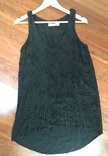 Sunny Girl black textured embroidered top - size 8 - NWOT