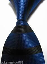 New Classic Stripes Blue Black JACQUARD WOVEN 100% Silk Men's Tie Necktie