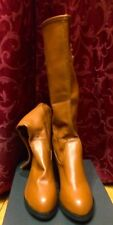 "TAN RETRO VINTAGE 60""S 70""S LONG BOOTS FRESS UP FANCY DRESS SIZE 39 8 NEW"