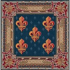 """Five Fleur Lys flower In Blue French Tapestry 19x19"""" Jacquard Cushion Cover"""