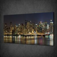 MANHATTAN NEW YORK NIGHT LIGHTS CANVAS PICTURE PRINT WALL ART HOME DECOR