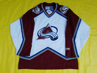 COLORADO Avalanche jersey Mens Large L CCM white & Maroon made in Canada nhl