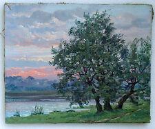Original Modern Vintage Impressionism Oil Painting Landscape Stretched Canvas