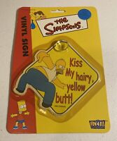 RARE Simpsons car sign suction cup 2000 NEW Fun 4 All-Kiss My Hairy Yellow Butt