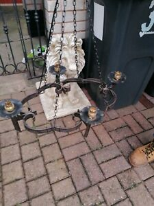 WROUGHT IRON CHANDELIER 4 ARM VINTAGE CEILING LIGHT MEDIEVAL GOTHIC