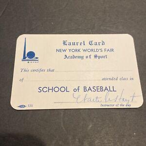 1939 WAITE HOYT (HOF) SIGNED~'39 NYC WORLDS FAIR LAUREL INSTRUCTOR CARD YANKEES~