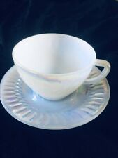 Federal Moonglow glass cups and saucers