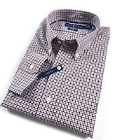 Ralph Lauren Shirt Men's Red/Blue Tattersall Check Standard Fit Cotton Stretch