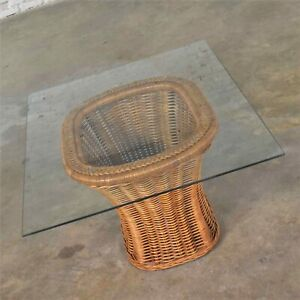 Vintage Organic Modern Woven Wicker Rattan Side or End Table w Rectangular Glass