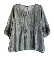 Salon Studio Womens Plus Size 2X Top Tee Blouse Cut-out Embroidered SleevesEUC